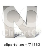 Royalty Free RF Clipart Illustration Of A 3d Chrome Capital Letter N