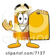 Barrel Mascot Cartoon Character Holding A Yellow Sales Price Tag