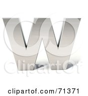 Royalty Free RF Clipart Illustration Of A 3d Chrome Capital Letter W by Julos