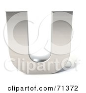 Royalty Free RF Clipart Illustration Of A 3d Chrome Capital Letter U by Julos