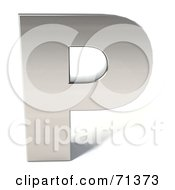 Royalty Free RF Clipart Illustration Of A 3d Chrome Capital Letter P by Julos