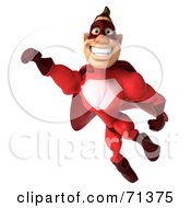 Royalty Free RF Clipart Illustration Of A 3d Red Super Hero Guy Smiling And Flying