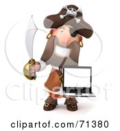 Royalty Free RF Clipart Illustration Of A 3d Pirate Character Carrying A Laptop Pose 2