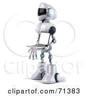 3d Techno Robot Character Carrying A Laptop Version 2 by Julos