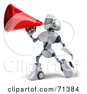 Royalty Free RF Clipart Illustration Of A 3d Techno Robot Character Using A Megaphone Pose 2