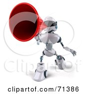 3d Techno Robot Character Using A Megaphone Pose 4 by Julos