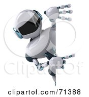 3d Techno Robot Character Pointing At A Blank Sign by Julos