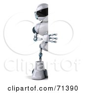 3d Techno Robot Character Holding Up A Big Blank Sign by Julos