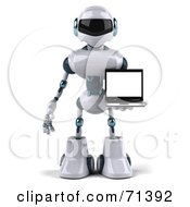 3d Techno Robot Character Carrying A Laptop Version 1 by Julos