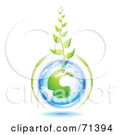 Royalty Free RF Clipart Illustration Of A Green Vine Growing From A Blue And Green Protected European Globe by Oligo