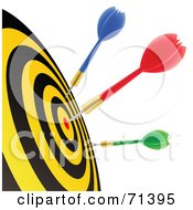 Royalty Free RF Clipart Illustration Of A Blue Red And Green Darts In A Dart Board