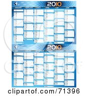 Royalty Free RF Clipart Illustration Of A Blue Technology 2010 Yearly Calendar With All 12 Months