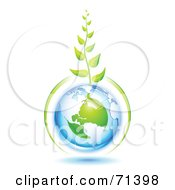 Royalty Free RF Clipart Illustration Of A Green Vine Growing From A Blue And Green Protected American Globe by Oligo
