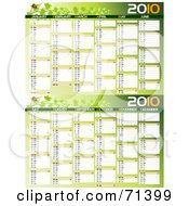 Royalty Free RF Clipart Illustration Of A Green Ladybug 2010 Yearly Calendar With All 12 Months