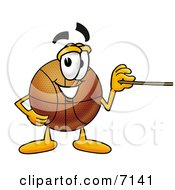 Clipart Picture Of A Basketball Mascot Cartoon Character Holding A Pointer Stick