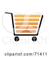 Royalty Free RF Clipart Illustration Of A Black And Orange Shopping Cart On White by oboy