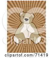 Happy Brown Teddy Bear With Stitching On A Grungy Burst Background by mheld