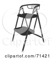 Royalty Free RF Clipart Illustration Of A Black Foldable Stool Chair by JR
