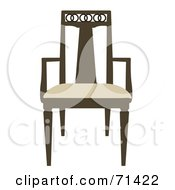 Royalty Free RF Clipart Illustration Of A Brown And Beige Wooden Chair by JR