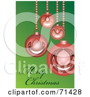 Green Merry Christmas Greeting With Shiny Red Baubles On Bead Strings