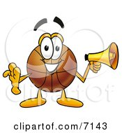 Clipart Picture Of A Basketball Mascot Cartoon Character Holding A Megaphone