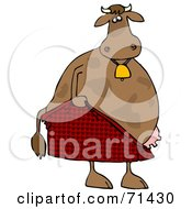 Royalty Free RF Clipart Illustration Of An Embarrassed Cow Pulling Up His Shorts