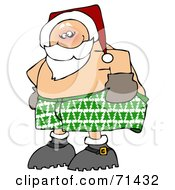 Royalty Free RF Clipart Illustration Of An Embarrassed Santa Pulling Up His Boxers by djart