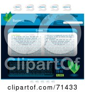 Royalty Free RF Clipart Illustration Of A Blue Website Template With An Atlas Tabs And Leaves