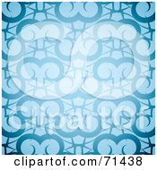 Royalty Free RF Clipart Illustration Of A Glowing Blue Ram Patterned Background by michaeltravers