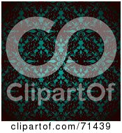 Royalty Free RF Clipart Illustration Of A Glowing Teal And Black Patterned Background