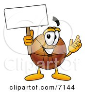 Clipart Picture Of A Basketball Mascot Cartoon Character Holding A Blank Sign