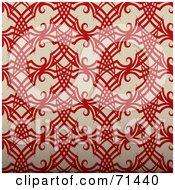 Royalty Free RF Clipart Illustration Of A Red Ink Tattoo Patterned Background