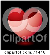 Royalty Free RF Clipart Illustration Of A Shiny Pink And Red Heart With A Reflection Over Black by michaeltravers