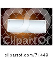 Slanted Blank Metal Sign On A Chain Link Fence Over Orange