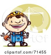 Happy Construction Guy In Overalls Standing By A Crane
