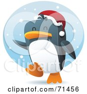 Royalty Free RF Clipart Illustration Of A Happy Penguin Running Through The Snow And Wearing A Santa Hat by Qiun