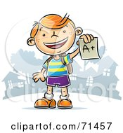 Royalty Free RF Clipart Illustration Of A Happy Red Haired School Boy Holding An A Plus Graded Paper