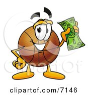 Clipart Picture Of A Basketball Mascot Cartoon Character Holding A Dollar Bill by Toons4Biz