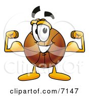 Clipart Picture Of A Basketball Mascot Cartoon Character Flexing His Arm Muscles