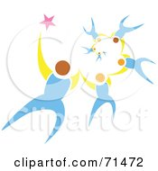 Royalty Free RF Clipart Illustration Of A Group Of Falling Sky Divers Holding Hands by xunantunich