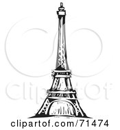 Royalty Free RF Clipart Illustration Of A Black And White Carving Design Of The Eiffel Tower by xunantunich