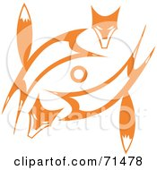 Royalty Free RF Clipart Illustration Of A Tribal Design Of Two Orange Foxes by xunantunich
