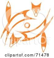 Tribal Design Of Two Orange Foxes