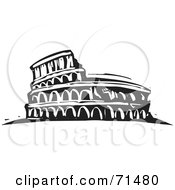 Royalty Free RF Clipart Illustration Of A Black And White Carving Design Of The Flavian Amphitheatre by xunantunich