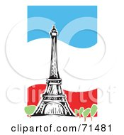 Royalty Free RF Clipart Illustration Of The Eiffel Tower Over A Wavy Flag Background