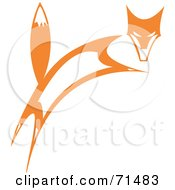 Royalty Free RF Clipart Illustration Of A Tribal Design Of A Leaping Fox by xunantunich