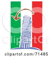 Royalty Free RF Clipart Illustration Of An Arrow Over The Leaning Tower Of Piza On A Red White And Green Background by xunantunich