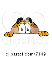 Clipart Picture Of A Basketball Mascot Cartoon Character Peeking Over A Surface