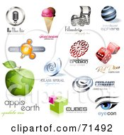 Royalty Free RF Clipart Illustration Of A Digital Collage Of 3d Logo Icons Version 3 by Anja Kaiser