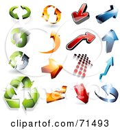 Digital Collage Of 3d Green Orange Red And Blue Arrow Icons